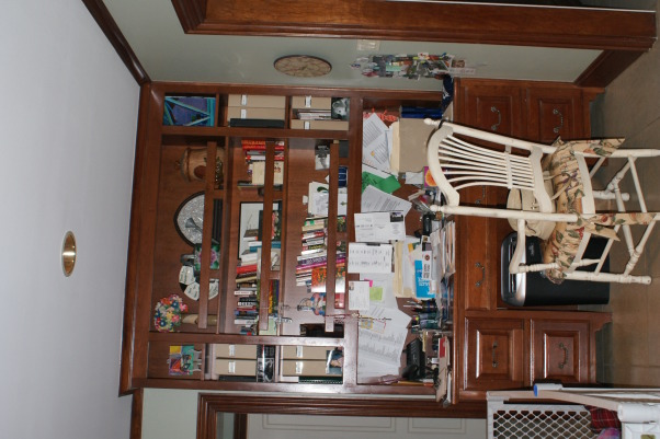 No more dark isolated kitchen, Brighten an existing kitchen and open it up to the flanking unused living space., Before: dated kitchen desk.       , Kitchens