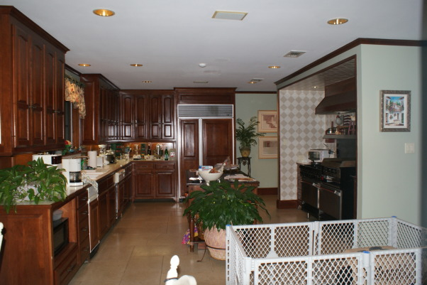 No more dark isolated kitchen, Brighten an existing kitchen and open it up to the flanking unused living space., Before: Dark cabinets, dog fence and isolated kitchen.       , Kitchens