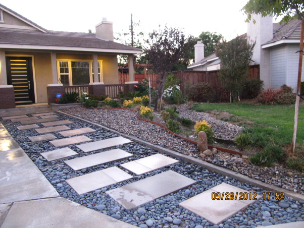 Modern Low Maintenance Landscape, My idea is to transform old front yard to new water saving landscape with modern,low maintenance and beauty look for all year long., After      , Landscaping