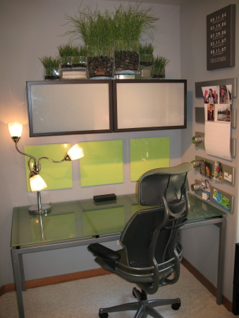 Contemporary Office, This small and challenging pentagonal shape home office was a collaborative refurnishing project with my husband.  We couldn't be happier with the results., Three lime squares above desk are dry erase boards. Magnetic bulletin boards on right.  , Home Offices