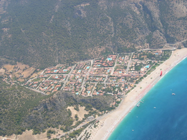 Fethiye, Oludeniz beach, Turkey, Veiw from paragliding adventure from mountain Babadag above Oludeniz beach, Oludeniz beach from air (paragliding), Adventure