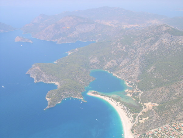 Fethiye, Oludeniz beach, Turkey, Veiw from paragliding adventure from mountain Babadag above Oludeniz beach, veiw from 2000 m, while paragliding over Oludeniz beach, Adventure