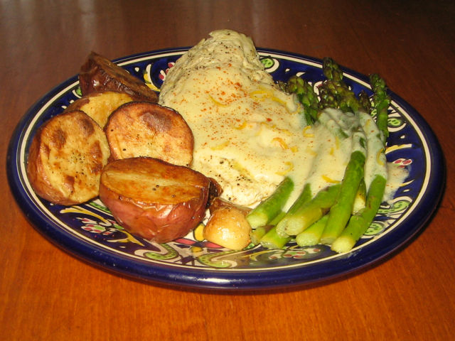 Roasted Chicken New Potatoes And Asparagus Recipe Genius Kitchen