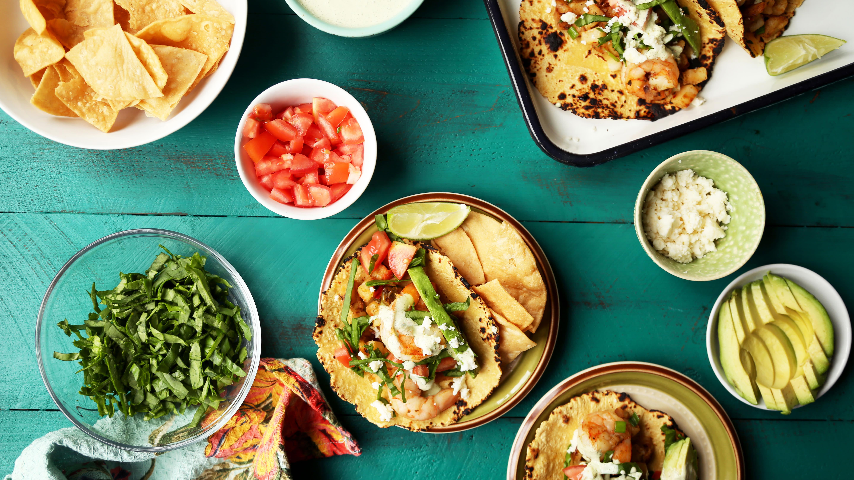 California Style Shrimp And Potato Tacos With Cilantro Crema Recipe ...