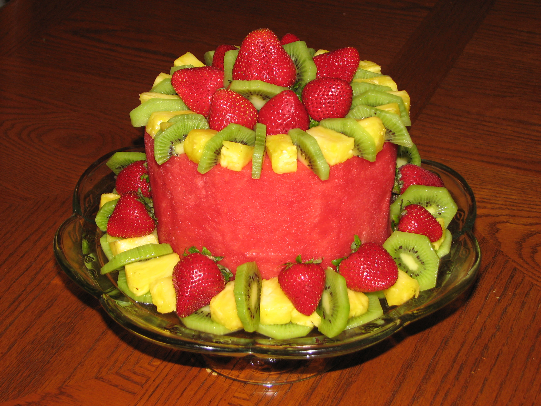 Fruit Cake Fresh Fruit In The Shape Of A Cake Recipe Genius Kitchen