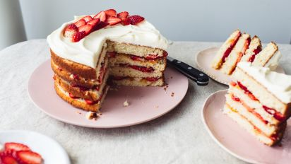 Enjoyable Diabetic Spring Fling Layered White Cake Recipe Food Com Personalised Birthday Cards Veneteletsinfo