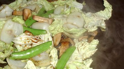 Chinese Cabbage Snow Pea And Mushroom Stir Fry Recipe Food Com