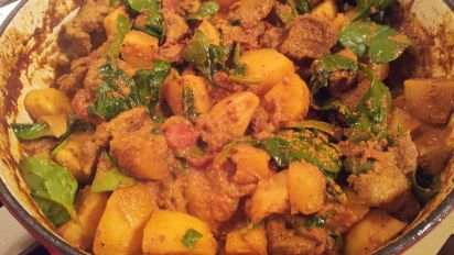Lamb Potato Spinach Curry