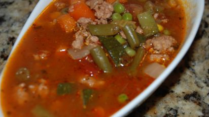 Vegetable and Ground Turkey Soup