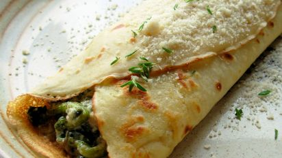 Savory Mushroom Spinach Cheese Crepes Recipe Food Com
