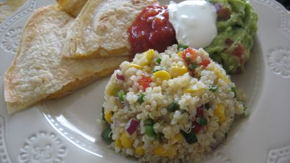 Quinoa Corn Salad With Cilantro Chives And Lemon Lime Dressing