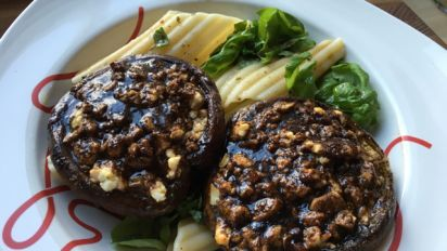 Cheese Stuffed Portobello Mushrooms With A Balsamic Glaze Recipe Food Com