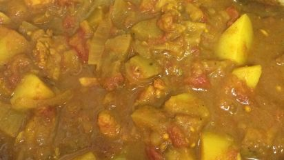 Indian Curry With Potatoes Chicken And Eggplant