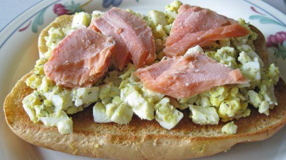 healthy food: egg salad and salmon