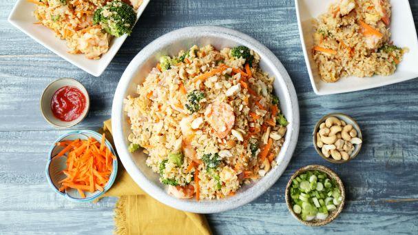 shrimp fried rice on a blue background