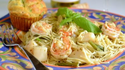 Shrimp And Scallops With Pesto Pasta Recipe Genius Kitchen