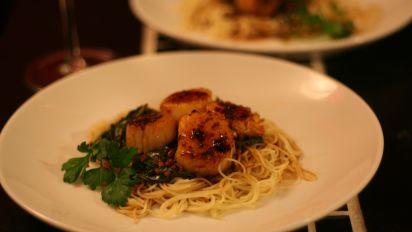 Sauteed Scallops With Angel Hair Pasta Recipe Genius Kitchen