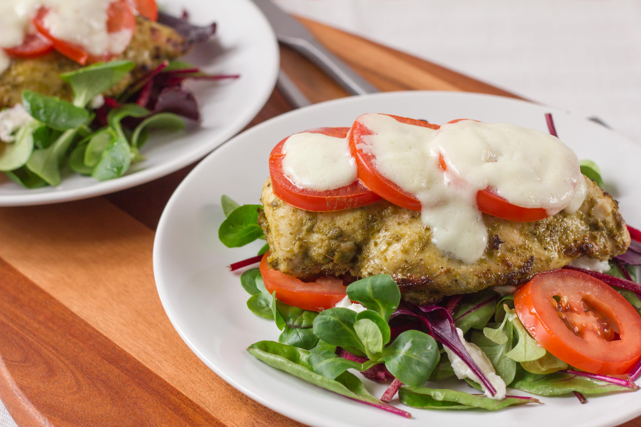 Baked chicken teriyaki recipe genius kitchen baked pesto chicken forumfinder Choice Image