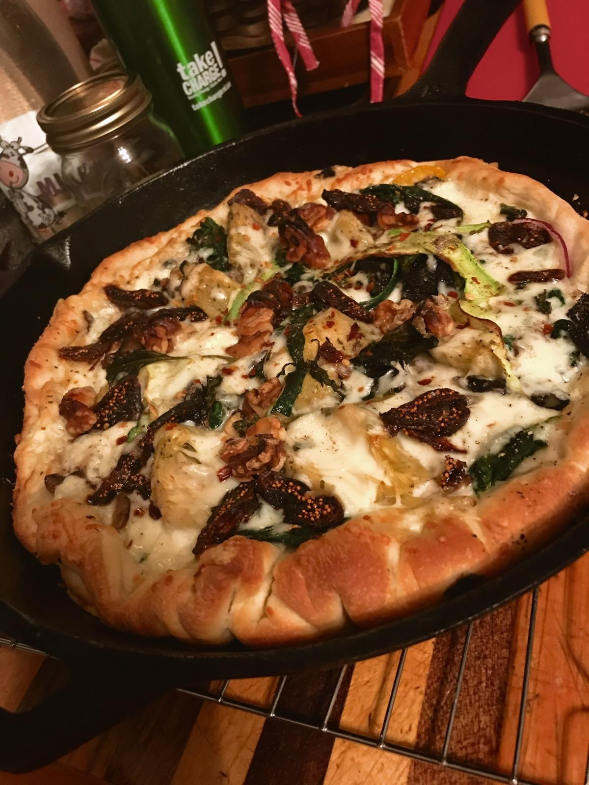 Spinach Artichoke and Mushroom Alfredo Pizza image
