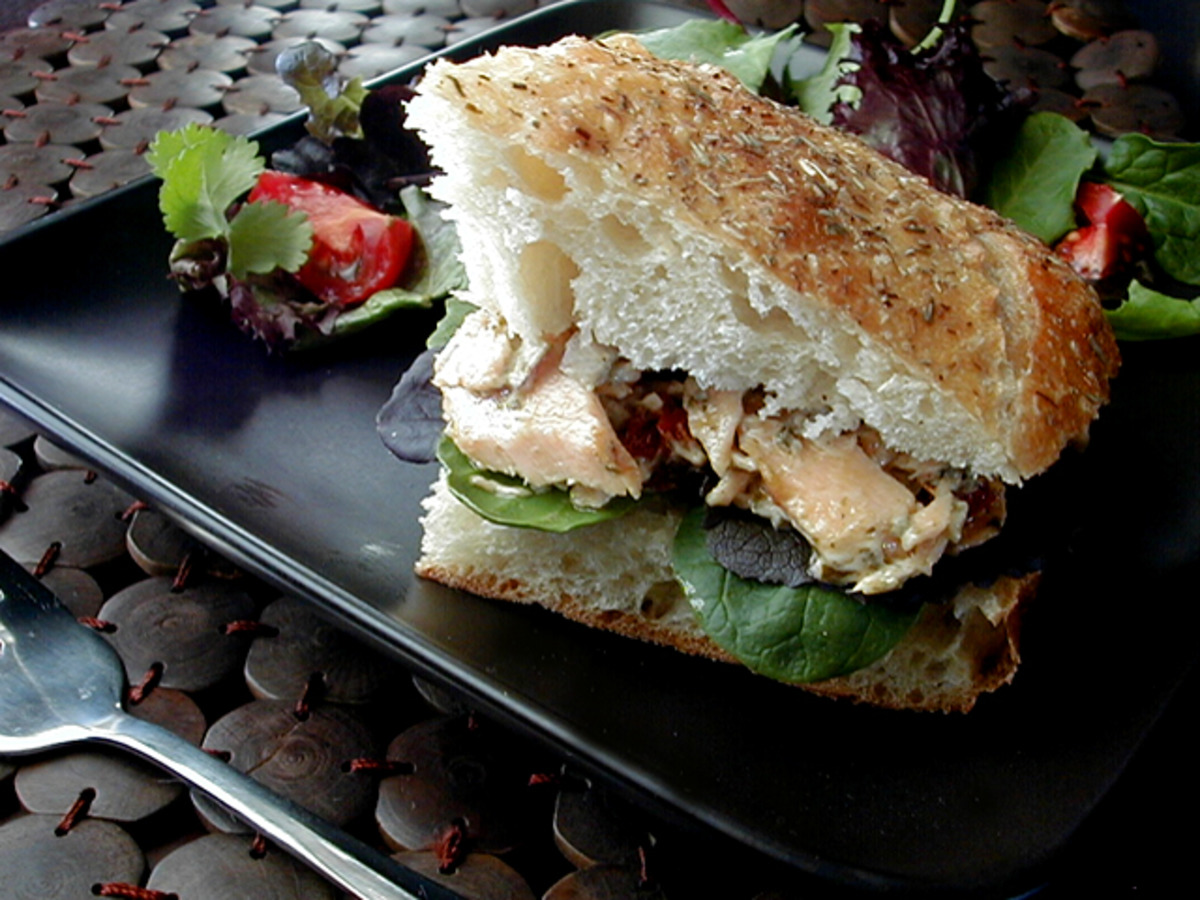 Salmon Pesto Focaccia Sandwiches Recipe Food Com