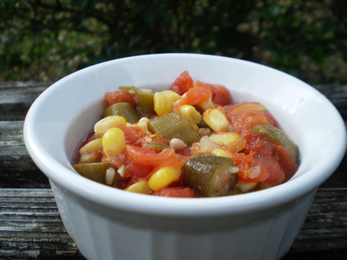 Okra, Corn, and Tomatoes image