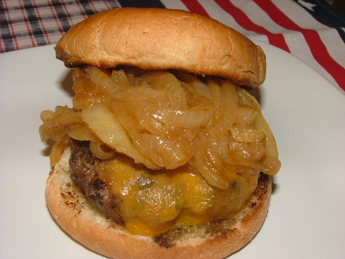 Beer Burgers With Beer Braised Onions image