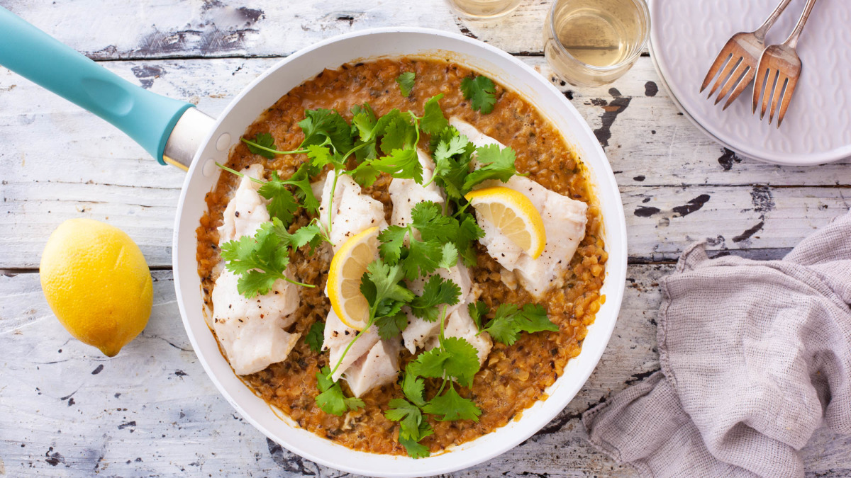 Cod With Spiced Red Lentils image