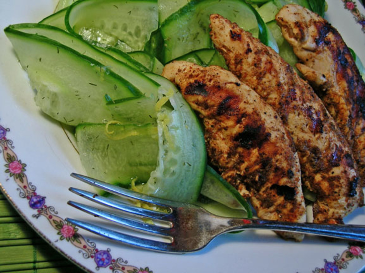 Blackened Chicken Breasts With Marinated Cucumber (Low-Carb) image