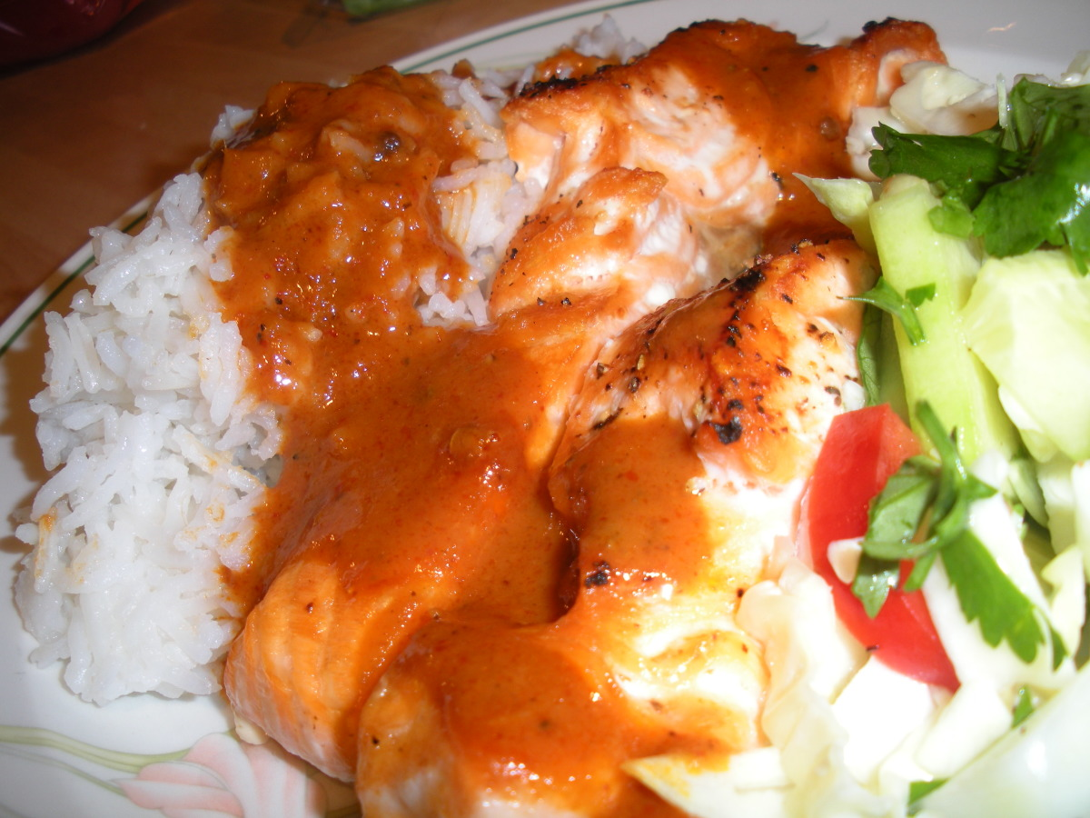 Grilled Fillet of Pacific Salmon With Thai Red Curry Sauce and B image