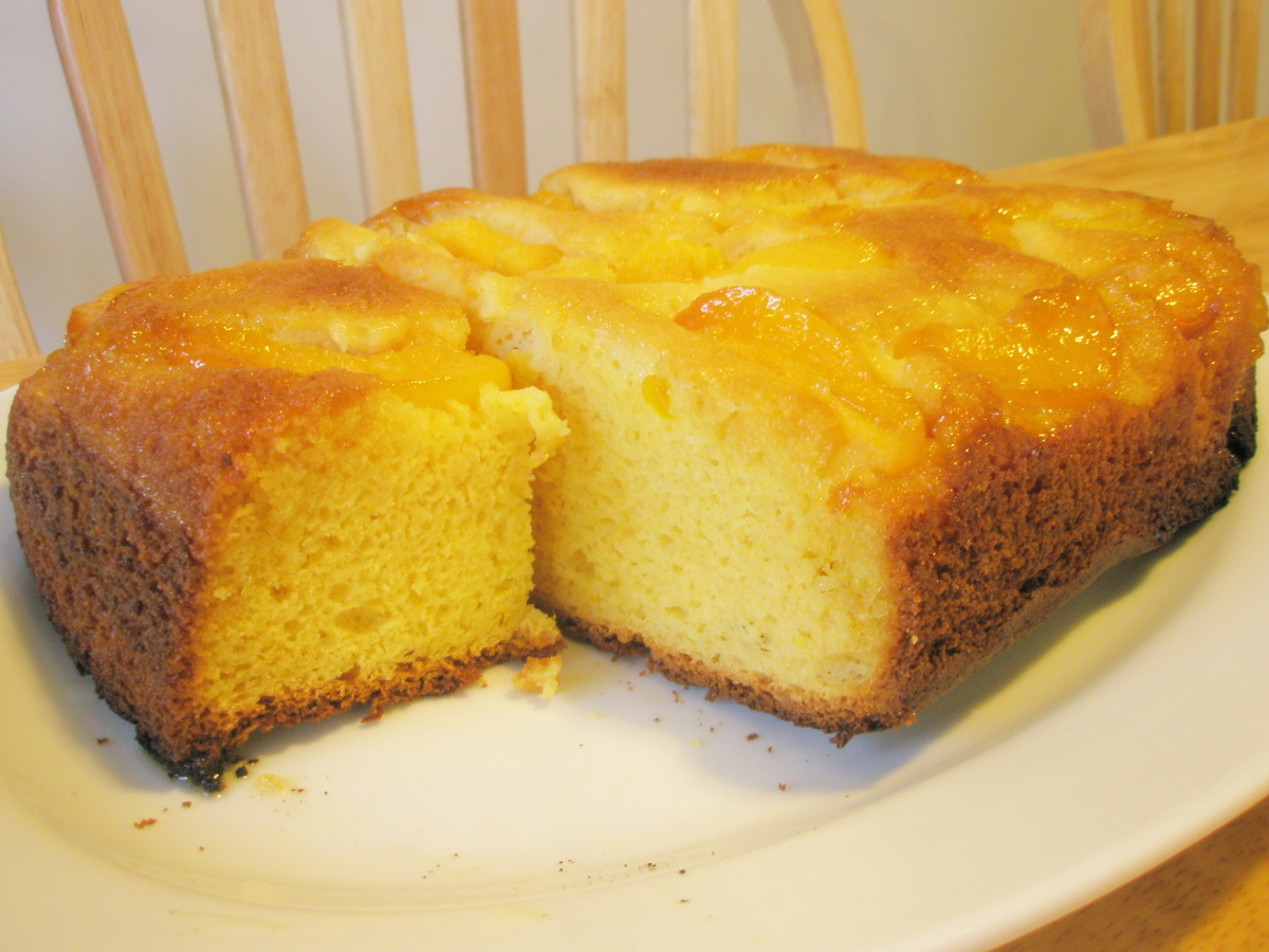 Peach Upside-Down Pudding Cake image