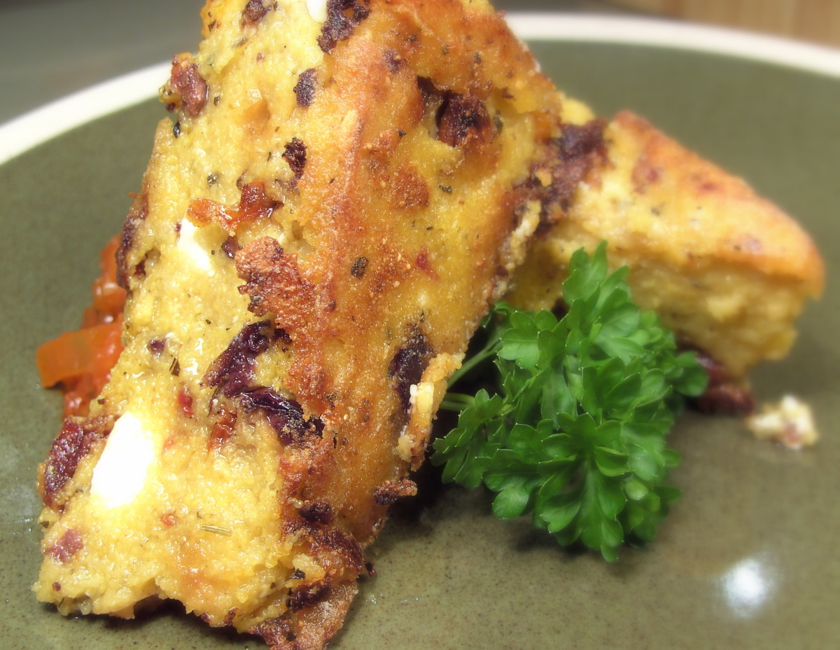Cheesy Sun-Dried Tomato and Olive Polenta Wedges image