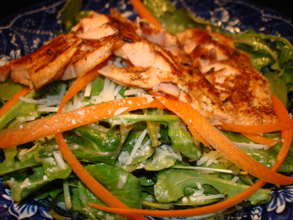 Salmon and Arugula Salad With Dijon Vinaigrette image