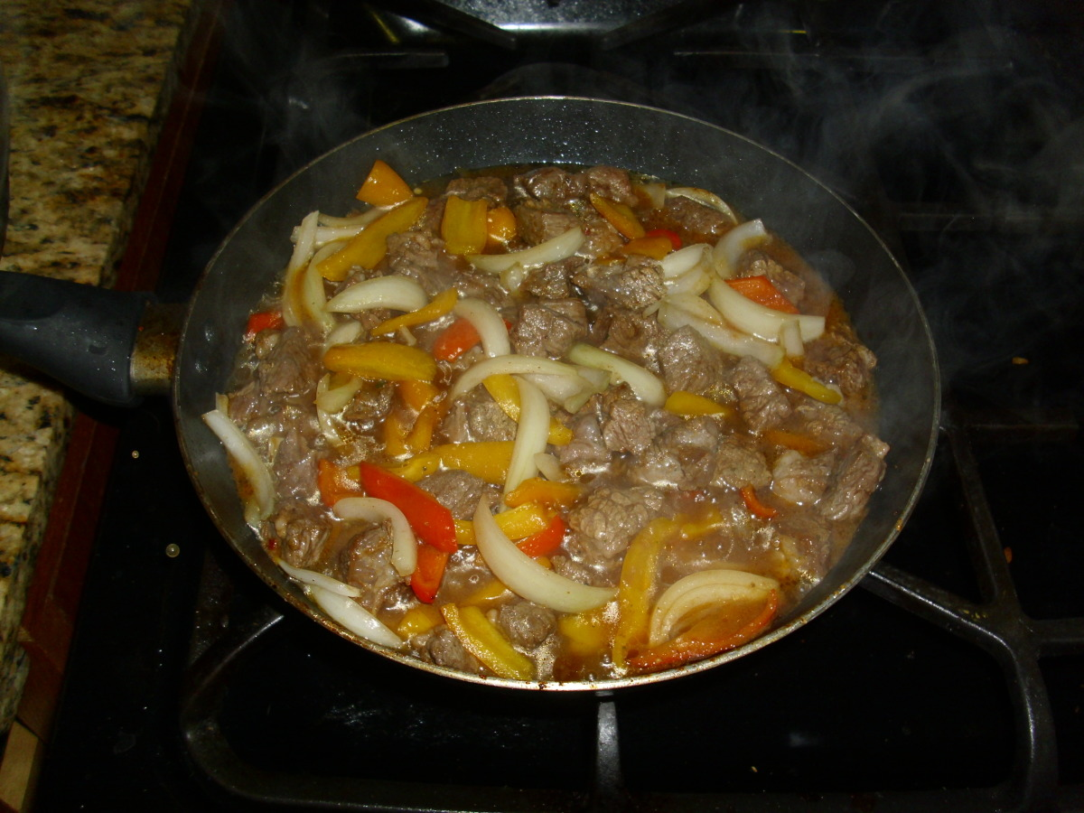 Beef Chuck Steak W Onions Peppers Recipe Food Com