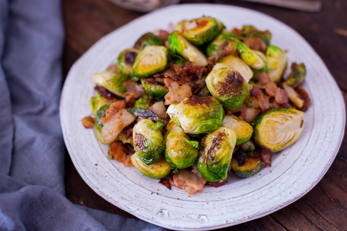 Yummy Brussels Sprouts With Bacon & Onion