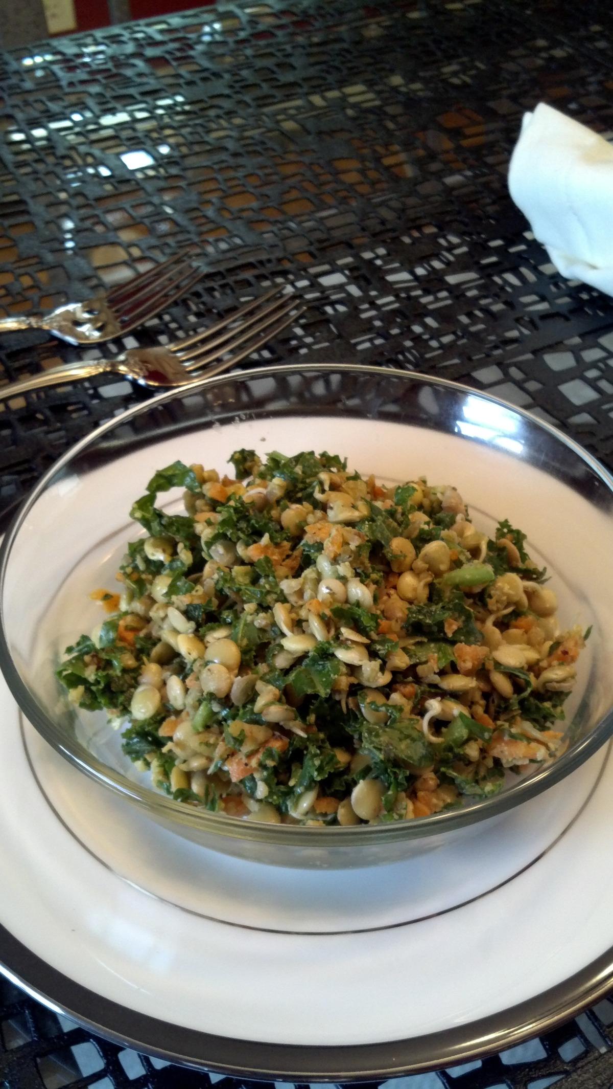 Crunchy Sprouted Lentil Walnut Salad (Raw / Live Food) image