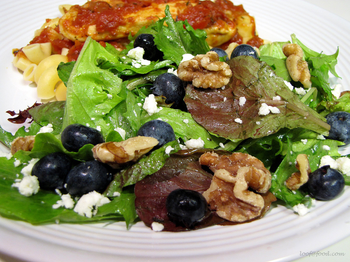 Simple Greens and Fruit Salad With Gorgonzola Cheese image