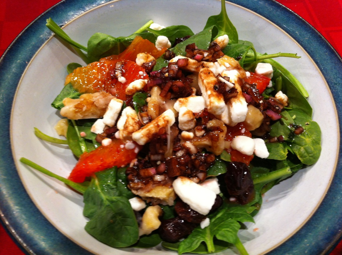 Spinach Salad With Oranges, Dried Cherries, and Candied Pecans image