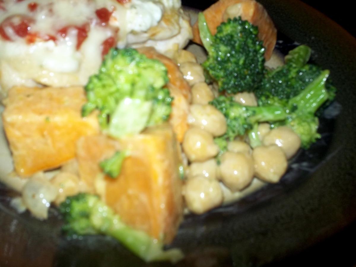 Steamed Sweet Potato, Broccoli, and Bean Salad image