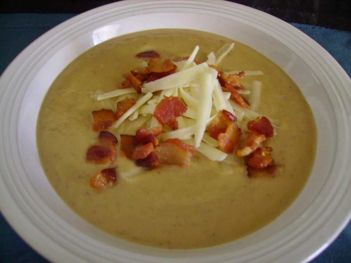Roasted Cauliflower Potato Leek and Garlic Soup image