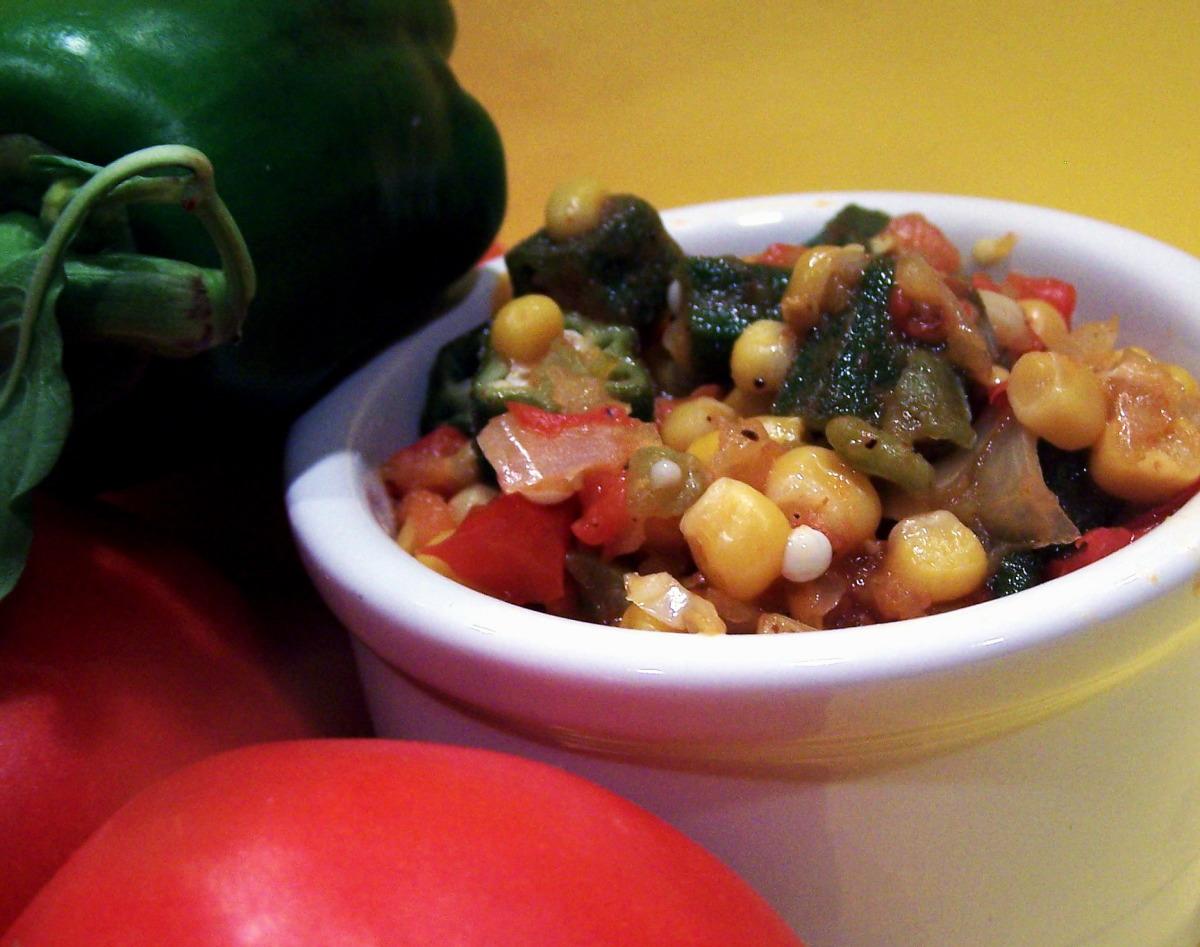 Corn Okra and Tomatoes image