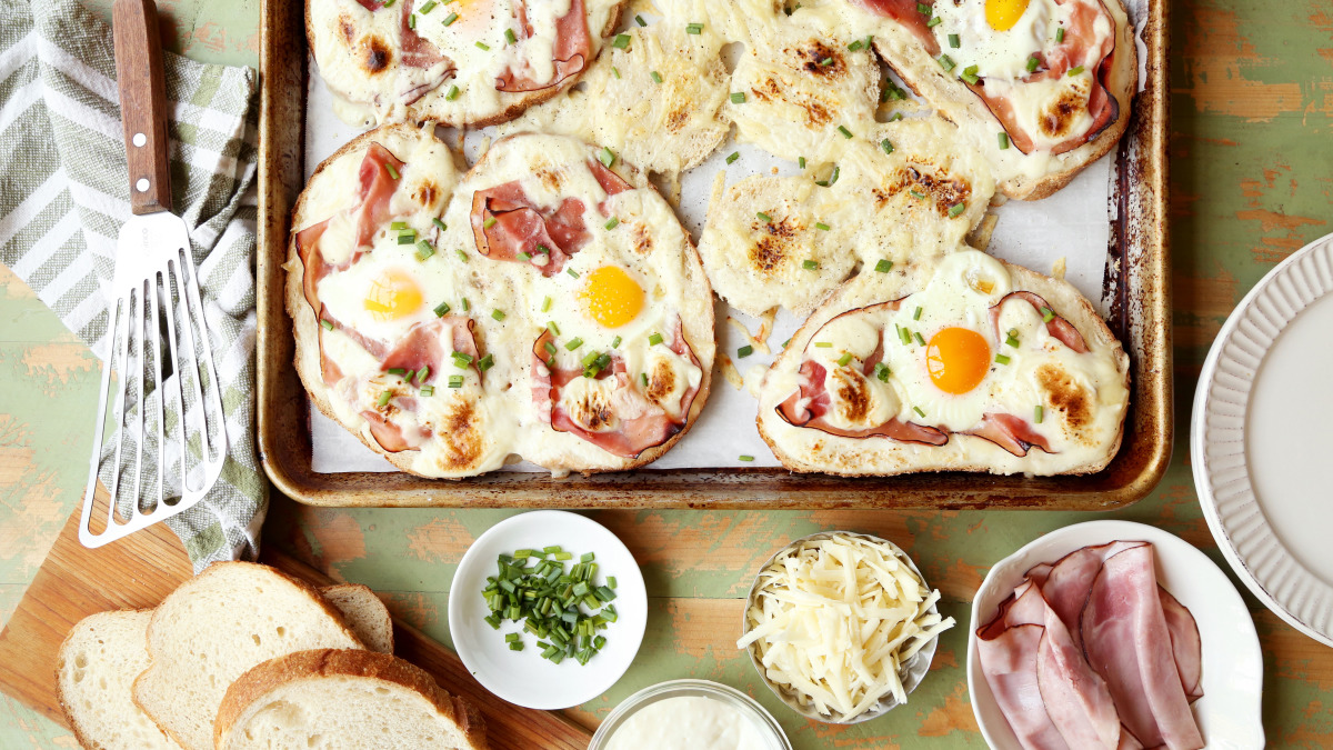 Sheet Pan Croque Madame Egg-In-A-Hole