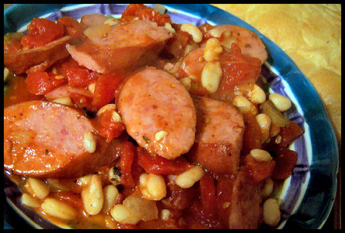 KIELBASA WITH WHITE BEANS AND TOMATO
