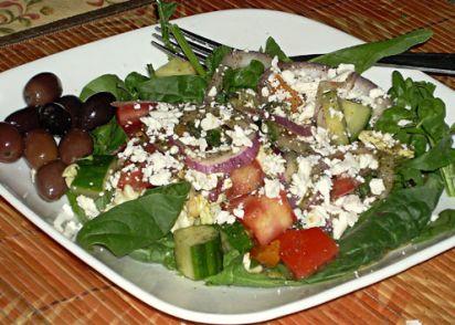 Kittencals Greek Garden Salad With Greek-Style Dressing Recipe ...