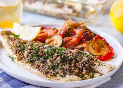 Simple oven baked sea bass recipe genius kitchen forumfinder Images