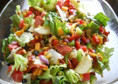 delicious garden entree salad with pepperoni cheese pineapple recipe genius kitchen - Delicious Garden