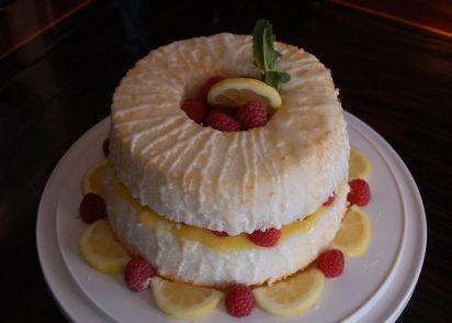Lemon angel food cake filled with lemon curd and fresh raspberry lemon angel food cake filled with lemon curd and fresh raspberry recipe genius kitchen forumfinder Images