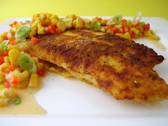 Southern cornmeal crusted catfish with crunchy corn relish for Cornmeal fried fish
