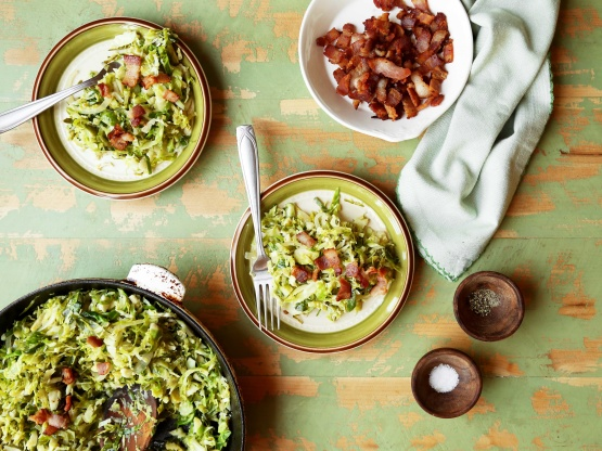 Shredded Brussels Sprouts With Bacon and Onions Recipe - Food.com
