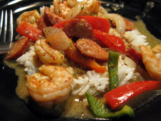 Andouille Sausage And Shrimp With Creole Mustard Sauce