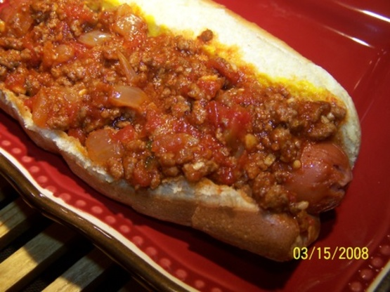 Just Right Hot Dog Chili Recipe Genius Kitchen